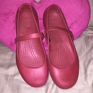 Crocs red Mary Janes